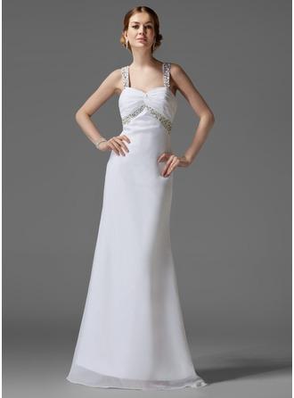Empire Sweetheart Sweep Train Chiffon Holiday Dress With Ruffle Beading