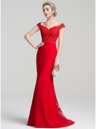 Trumpet/Mermaid Off-the-Shoulder Sweep Train Chiffon Lace Prom Dress With Beading Sequins