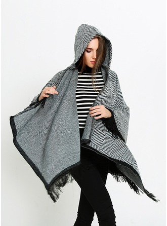 Solid Color Oversized/Cold weather Artificial Wool Poncho