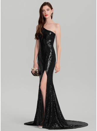 Sheath/Column One-Shoulder Court Train Sequined Prom Dress