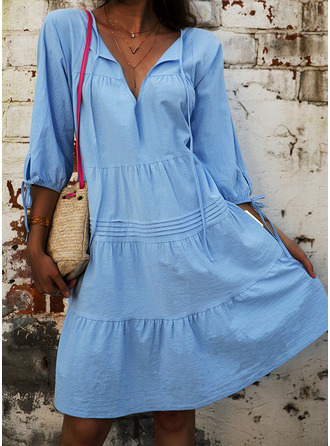 Solid Shift 3/4 Sleeves Mini Casual Tunic Dresses