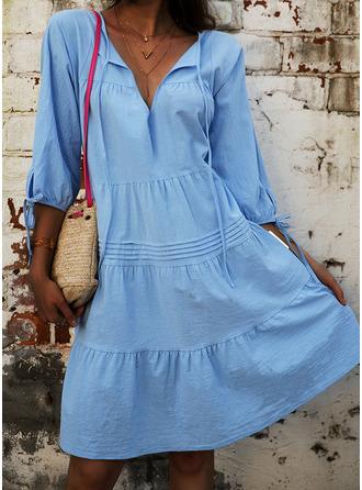 Solid Shiftklänningar 3/4 ärmar Mini Fritids Tunika Modeklänningar