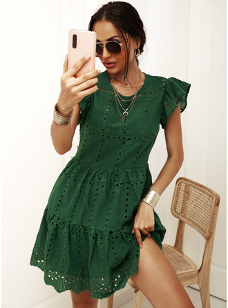 Knee Length Round Neck Linen Hollow Short Sleeves Fashion Dresses