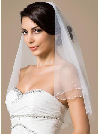 Zweischichtig Ellenbogen Braut Schleier mit Wellenkante