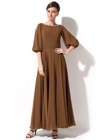 A-Linie/Princess-Linie U-Ausschnitt Knöchellang Chiffon Kleid für die Brautmutter