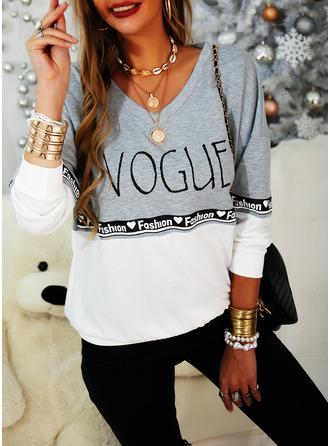 Color Block Print V-Neck Long Sleeves Sweatshirt