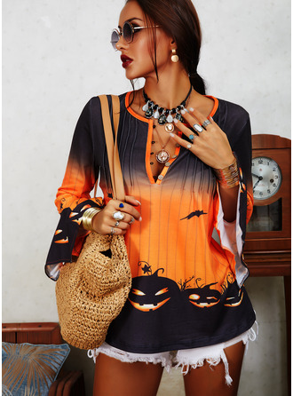 Print V-Neck 3/4 Sleeves Halloween Button Up Casual Blouses