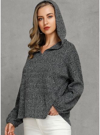 Hooded Casual Solid Sweaters