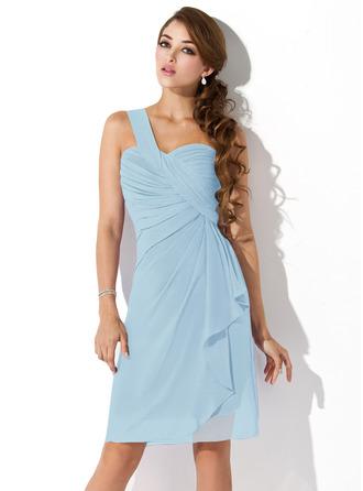 Sheath/Column One-Shoulder Knee-Length Chiffon Homecoming Dress With Cascading Ruffles