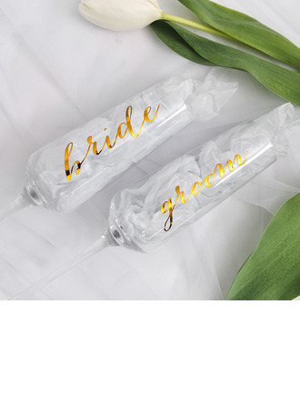 Bride Gifts - Eye-catching Decal Glass Champagne Flute (Set of 2)