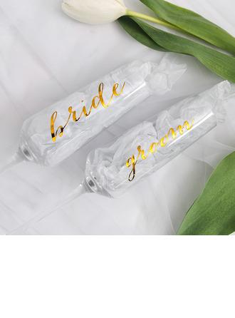 Bride Gaver - Iøjnefaldende Mærkat Glas Champagne Fløjte (Sæt af 2)