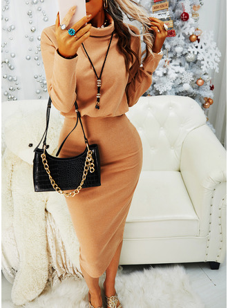 Einfarbig Figurbetont Lange Ärmel Midi Kleine Schwarze Lässige Kleidung Bleistift Modekleider