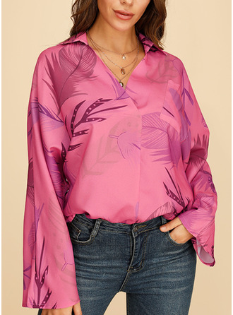 Print V-Neck Long Sleeves Casual Elegant