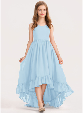 A-Line Scoop Neck Asymmetrical Chiffon Junior Bridesmaid Dress With Bow(s) Cascading Ruffles