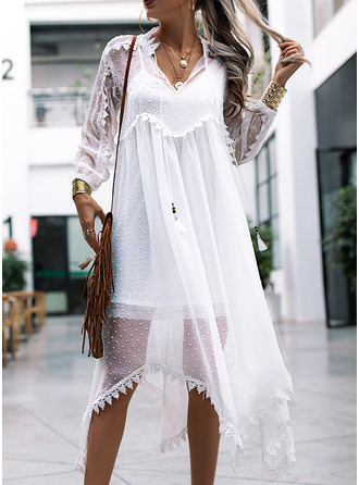 Lace Solid Shift 3/4 Sleeves Maxi Boho Vacation Dresses