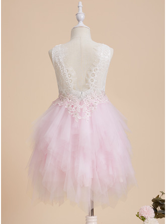 Ball-Gown/Princess Scoop Neck Knee-length With Beading/Sequins Tulle/Lace Flower Girl Dress