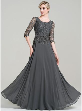 Corte A Decote redondo Longos Tecido de seda Vestido para a mãe da noiva com Beading lantejoulas