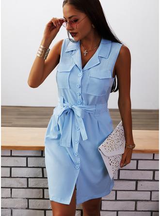 Solid Sheath Ermeløs Mini Avslappet Elegant Skjorte Motekjoler