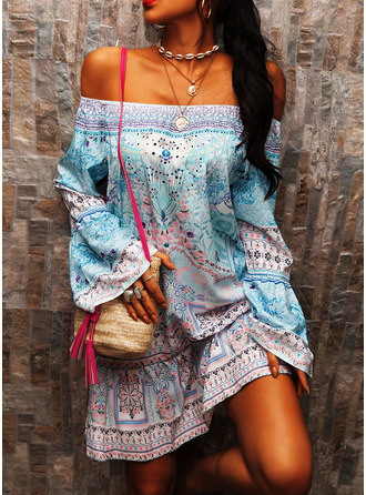 Print Shift Flare Sleeve Long Sleeves Mini Boho Casual Vacation Tunic Dresses