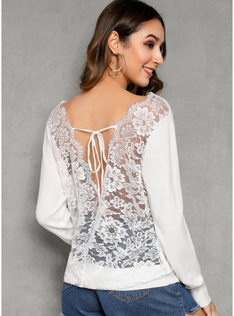 Round Neck Casual Sexy Lace Solid Sweaters
