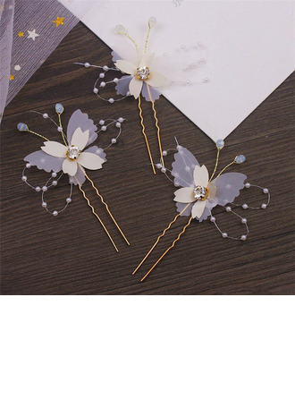 Simple Butterfly Alloy/Voile Hairpins With Rhinestone/Venetian Pearl (Set of 6)