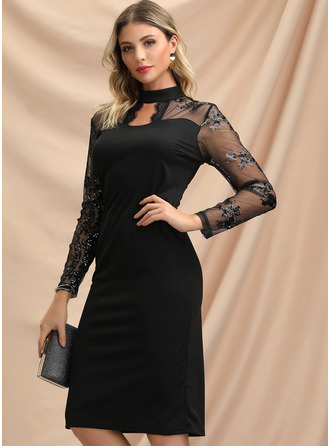 Knee Length High Neck Spandex/Lace Solid Long Sleeves Fashion Dresses