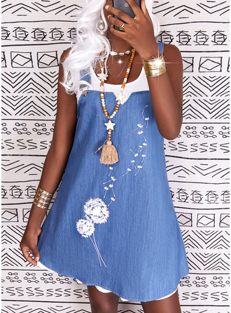 Print Shift Sleeveless Midi Casual Dresses