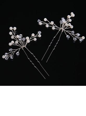 Дамы Элегантные хрусталь/Перлы ложный заколки (Набор из 2)