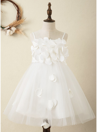 A-Line Knee-length Flower Girl Dress - Satin Sleeveless Straps