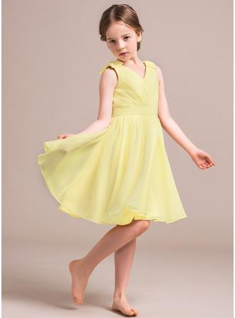 Vestidos princesa/ Formato A Decote V Coquetel Tecido de seda Vestido de daminha júnior com Pregueado Curvado