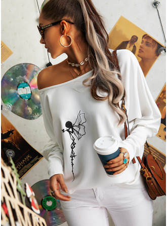 Floral Print One Shoulder Long Sleeves Casual Blouses