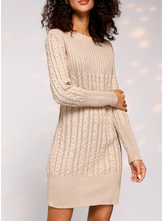 Round Neck Casual Long Tight Solid Cable-knit Chunky knit Sweaters