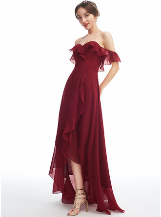 A-Line Off-the-Shoulder Asymmetrical Bridesmaid Dress With Ruffle Split Front