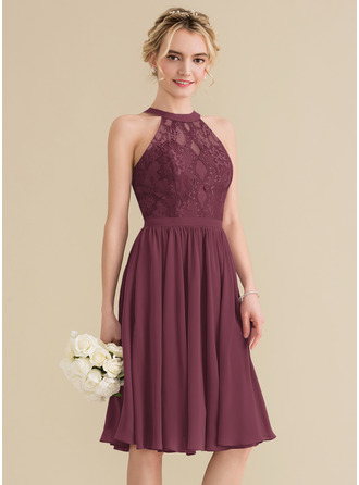 A-Line Scoop Neck Knee-Length Chiffon Lace Homecoming Dress