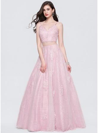 Ball-Gown V-neck Floor-Length Tulle Prom Dresses