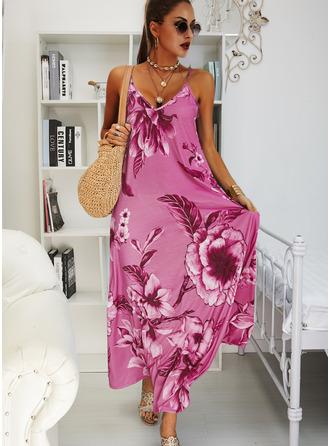 Floral Print Shift Sleeveless Maxi Boho Casual Vacation Type Dresses
