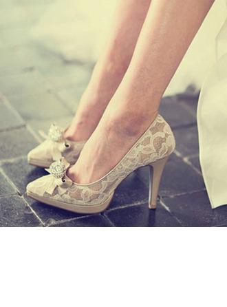 Женщины Кружева Натуральня кожа Высокий тонкий каблук Закрытый мыс Платформа Beach Wedding Shoes с горный хрусталь Лента
