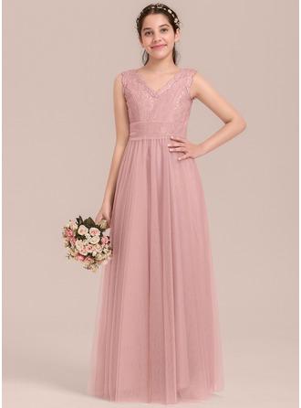 A-Linie/Princess-Linie V-Ausschnitt Bodenlang Tüll Kleid für junge Brautjungfern