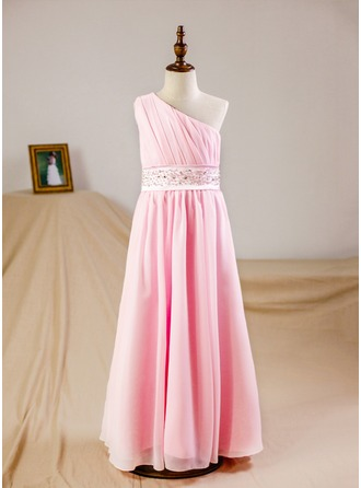 A-Line/Princess Floor-length Flower Girl Dress - Chiffon Sleeveless One-Shoulder With Ruffles/Beading/Sequins