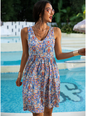 Print A-line Sleeveless Midi Boho Casual Vacation Skater Dresses