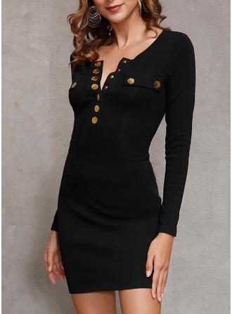 Couleur Unie Moulante Manches Longues Mini Petites Robes Noires Décontractée Élégante Robes tendance (294254825)