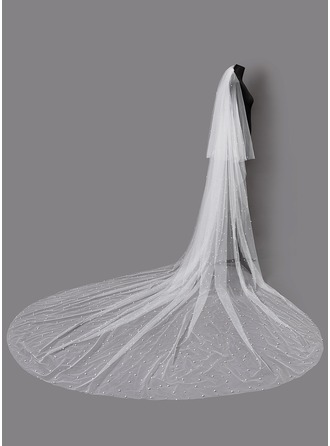 Two-tier Cut Edge Chapel Bridal Veils With Faux Pearl