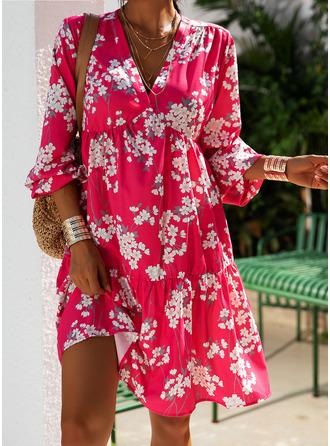 Floral Print Shift 3/4 Sleeves Midi Casual Tunic Dresses