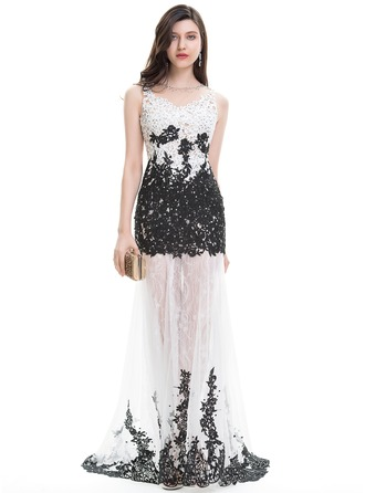 Trumpet/Mermaid Scoop Neck Sweep Train Lace Evening Dress With Beading