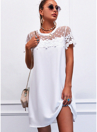 Lace Solid Shift Short Sleeves Mini Elegant Dresses