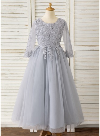 A-Line Ankle-length Flower Girl Dress - Tulle/Lace Long Sleeves Scoop Neck