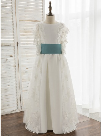 A-Line/Princess Floor-length Flower Girl Dress - Satin/Lace Short Sleeves Scoop Neck With Sash