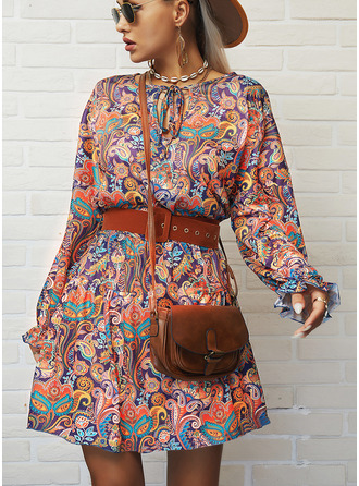 Print A-line Long Sleeves Mini Boho Casual Vacation Skater Dresses