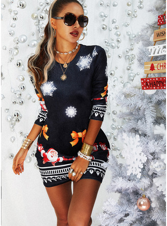 Estampado Bodycon Manga Comprida Mini Casual Natal Vestidos na Moda