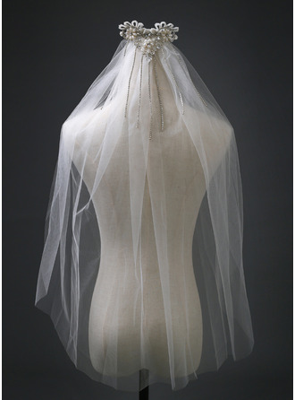 One-tier Cut Edge Elbow Bridal Veils With Rhinestones/Faux Pearl